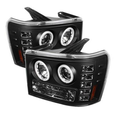 Headlights & Tail Lights - Headlights - Spyder - GMC Sierra Spyder Projector Headlights - CCFL Halo - LED - Black - 444-GS07-CCFL-BK
