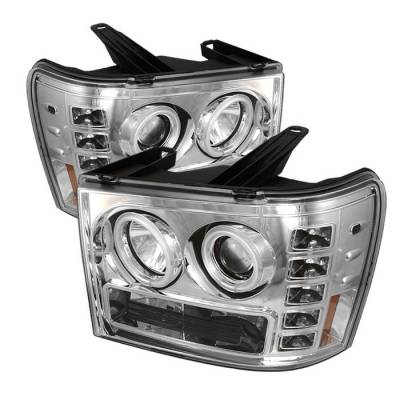 Headlights & Tail Lights - Headlights - Spyder - GMC Sierra Spyder Projector Headlights - CCFL Halo - LED - Chrome - 444-GS07-CCFL-C