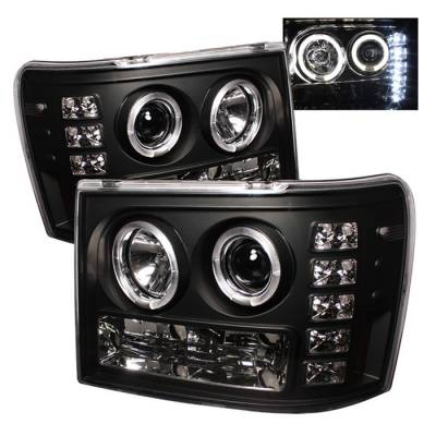 Headlights & Tail Lights - Headlights - Spyder - GMC Sierra Spyder Projector Headlights - LED Halo - LED - Black - 444-GS07-HL-BK