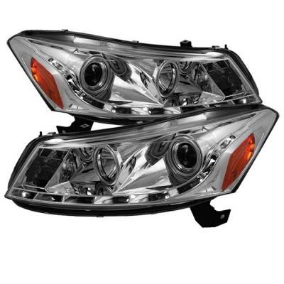 Headlights & Tail Lights - Headlights - Spyder - Honda Accord 4DR Spyder Projector Headlights - DRL - Chrome - 444-HA08-4D-DRL-C