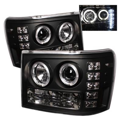 Headlights & Tail Lights - Headlights - Spyder Auto - GMC Sierra Spyder Halo LED Projector Headlights - Black - 444-HA98-AM-C