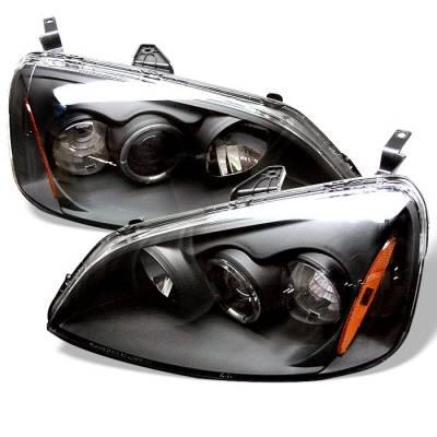 Headlights & Tail Lights - Headlights - Spyder - Honda Civic 2DR & 4DR Spyder Projector Headlights - LED Halo - Amber Reflector - Black - 444-HC01-AM-BK