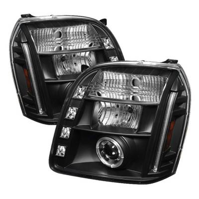 Headlights & Tail Lights - Headlights - Spyder Auto - GMC Yukon Spyder Halo LED Projector Headlights - Black - 444-HC01-AM-C