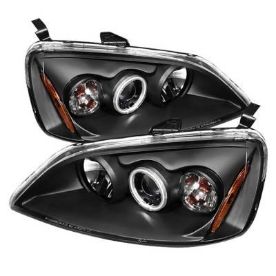 Headlights & Tail Lights - Headlights - Spyder - Honda Civic 2DR & 4DR Spyder Projector Headlights - CCFL Halo - Black - 444-HC01-CCFL-BK
