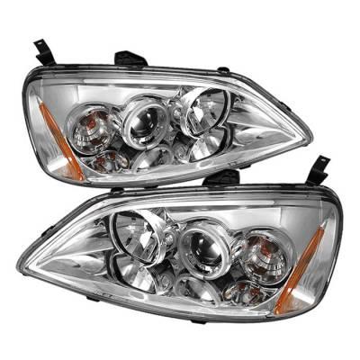 Headlights & Tail Lights - Headlights - Spyder - Honda Civic 2DR & 4DR Spyder Projector Headlights - CCFL Halo - Chrome - 444-HC01-CCFL-C