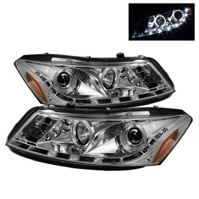 Headlights & Tail Lights - Headlights - Spyder Auto - Honda Accord 4DR Spyder Daytime Running LED Halo Projector Headlights - Chrome - 444-HC06-2D-HL-SM