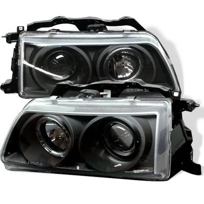 Headlights & Tail Lights - Headlights - Spyder - Honda CRX Spyder Projector Headlights - LED Halo - Black - 444-HC90-HL-BK