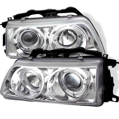 Headlights & Tail Lights - Headlights - Spyder - Honda CRX Spyder Projector Headlights - LED Halo - Chrome - 444-HC90-HL-C