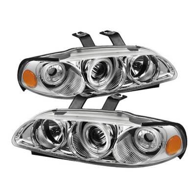 Headlights & Tail Lights - Headlights - Spyder - Honda Civic 2DR & 3DR Spyder Projector Headlights - CCFL Halo - Chrome - 1PC - 444-HC921P-23D-CCFL-C