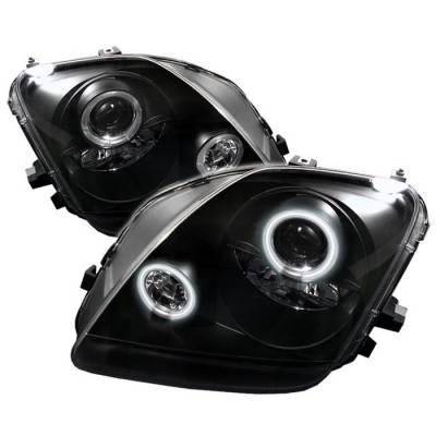 Headlights & Tail Lights - Headlights - Spyder - Honda Prelude Spyder Projector Headlights - CCFL Halo - Black - 444-HP97-CCFL-BK
