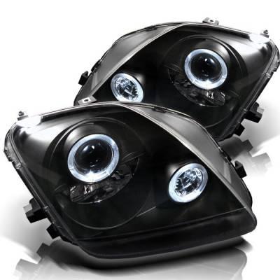 Headlights & Tail Lights - Headlights - Spyder - Honda Prelude Spyder Projector Headlights - LED Halo - Black - 444-HP97-HL-BK