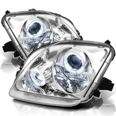 Headlights & Tail Lights - Headlights - Spyder - Honda Prelude Spyder Projector Headlights - LED Halo - Chrome - 444-HP97-HL-C