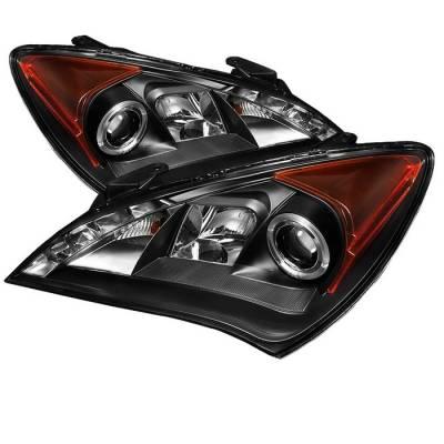 Headlights & Tail Lights - Headlights - Spyder - Hyundai Genesis Spyder Projector Headlights LED Halo - DRL - Black - 444-HYGEN09-DRL-BK