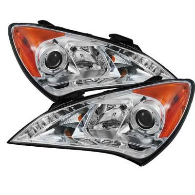 Headlights & Tail Lights - Headlights - Spyder - Hyundai Genesis Spyder Projector Headlights LED Halo - DRL - Chrome - 444-HYGEN09-DRL-C
