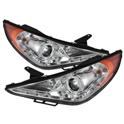 Headlights & Tail Lights - Headlights - Spyder. - Hyundai Sonata Spyder Projector Headlights - LED Halo - DRL - Chrome - 444-HYSON11-DRL-C