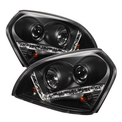 Headlights & Tail Lights - Headlights - Spyder - Hyundai Tucson Spyder Projector Headlights - DRL - Black - 444-HYTUC04-DRL-BK