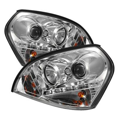 Headlights & Tail Lights - Headlights - Spyder. - Hyundai Tucson Spyder Projector Headlights - DRL - Chrome - 444-HYTUC04-DRL-C