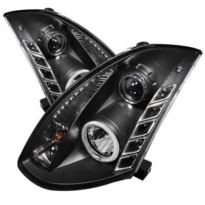 Headlights & Tail Lights - Headlights - Spyder - Infiniti G35 2DR Spyder Projector Headlights - Xenon HID Model Only - CCFL Halo - DRL - Black - 444-IG35032D-CCFL-DRL-BK