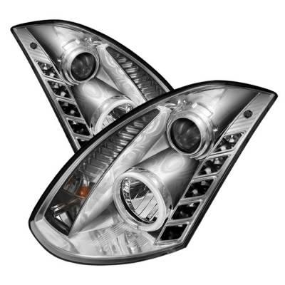 Headlights & Tail Lights - Headlights - Spyder - Infiniti G35 2DR Spyder Projector Headlights - Xenon HID Model Only - CCFL Halo - DRL - Chrome - 444-IG35032D-CCFL-DRL-C