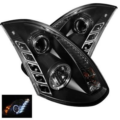 Headlights & Tail Lights - Headlights - Spyder - Infiniti G35 2DR Spyder Projector Headlights LED Halo - DRL - Black - 444-IG35032D-DRL-BK
