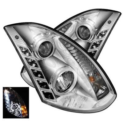 Headlights & Tail Lights - Headlights - Spyder - Infiniti G35 2DR Spyder Projector Headlights LED Halo - DRL - Chrome - 444-IG35032D-DRL-C