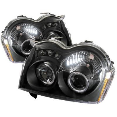 Headlights & Tail Lights - Headlights - Spyder - Jeep Grand Cherokee Spyder Projector Headlights - LED Halo - LED - Black - 444-JGC05-HL-BK