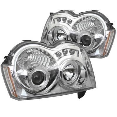 Headlights & Tail Lights - Headlights - Spyder - Jeep Grand Cherokee Spyder Projector Headlights - LED Halo - LED - Chrome - 444-JGC05-HL-C