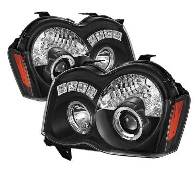 Headlights & Tail Lights - Headlights - Spyder - Jeep Grand Cherokee Spyder Projector Headlights - LED Halo - LED - Black - 444-JGC08-HL-BK