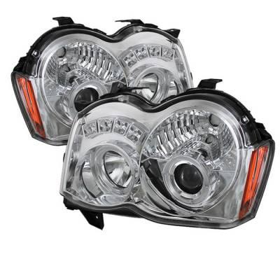Headlights & Tail Lights - Headlights - Spyder - Jeep Grand Cherokee Spyder Projector Headlights - LED Halo - LED - Chrome - 444-JGC08-HL-C