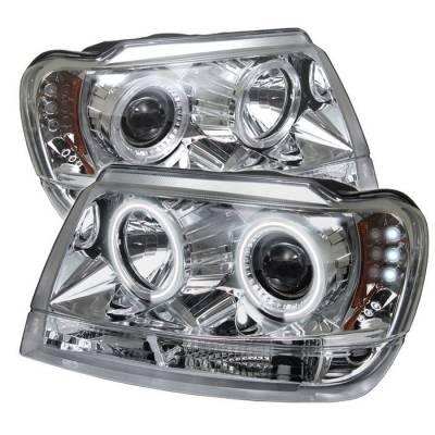 Headlights & Tail Lights - Headlights - Spyder - Jeep Grand Cherokee Spyder Projector Headlights - CCFL Halo - LED - Chrome - 444-JGC99-CCFL-C