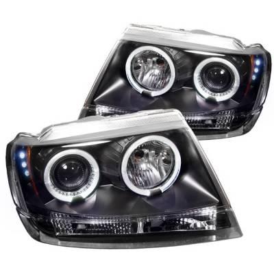 Headlights & Tail Lights - Headlights - Spyder - Jeep Grand Cherokee Spyder Projector Headlights - LED Halo - LED - Black - 444-JGC99-HL-BK