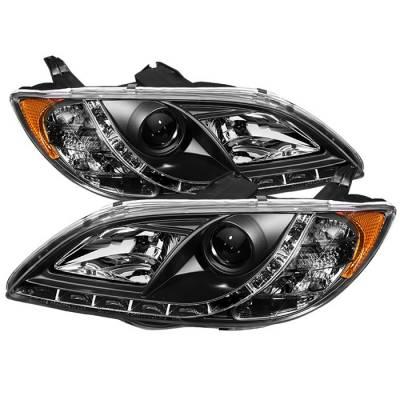 Headlights & Tail Lights - Headlights - Spyder - Mazda 3 4DR Spyder Projector Headlights - DRL - Black - 444-M304-DRL-BK
