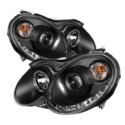 Headlights & Tail Lights - Headlights - Spyder - Mercedes-Benz CLK Spyder Projector Headlights LED Halo - DRL - Black - 444-MBCLK03-DRL-BK