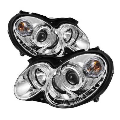 Headlights & Tail Lights - Headlights - Spyder - Mercedes-Benz CLK Spyder Projector Headlights LED Halo - DRL - Chrome - 444-MBCLK03-DRL-C