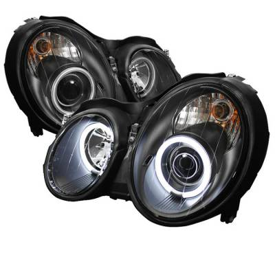 Headlights & Tail Lights - Headlights - Spyder - Mercedes-Benz CLK Spyder Projector Headlights CCFL Halo - Black - 444-MBCLK98-CCFL-BK