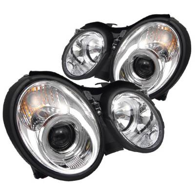 Headlights & Tail Lights - Headlights - Spyder - Mercedes-Benz CLK Spyder Projector Headlights LED Halo - Chrome - 444-MBCLK98-HL-C