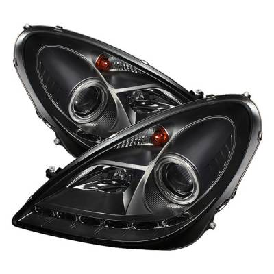 Headlights & Tail Lights - Headlights - Spyder - Mercedes-Benz SLK Spyder Projector Headlights DRL - Black - 444-MBSLK05-DRL-BK