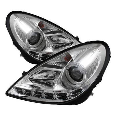 Headlights & Tail Lights - Headlights - Spyder - Mercedes-Benz SLK Spyder Projector Headlights DRL - Chrome - 444-MBSLK05-DRL-C