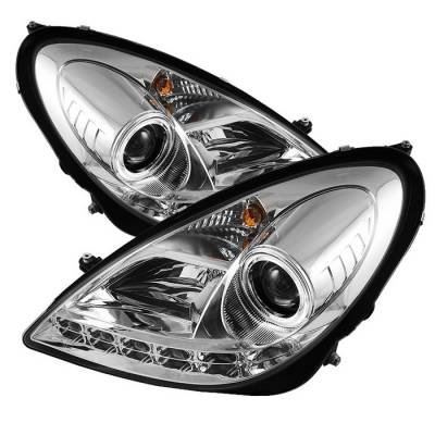 Headlights & Tail Lights - Headlights - Spyder - Mercedes-Benz SLK Spyder Projector Headlights - Xenon HID Model Only - DRL - Chrome - 444-MBSLK05-HID-DRL-C