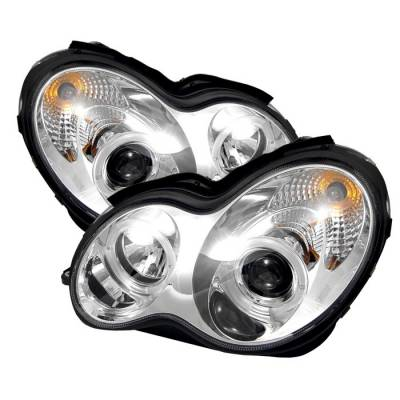 Headlights & Tail Lights - Headlights - Spyder - Mercedes-Benz C Class Spyder Projector Headlights - LED Halo - Chrome - 444-MBW203-HL-C