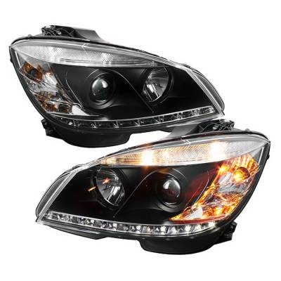 Headlights & Tail Lights - Headlights - Spyder - Mercedes-Benz C Class Spyder Projector Headlights DRL - Black - 444-MBW20408-DRL-BK