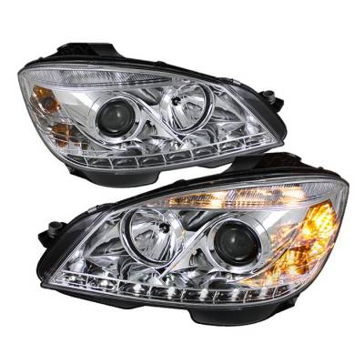 Headlights & Tail Lights - Headlights - Spyder - Mercedes-Benz C Class Spyder Projector Headlights DRL - Chrome - 444-MBW20408-DRL-C