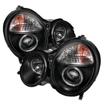 Headlights & Tail Lights - Headlights - Spyder - Mercedes-Benz E Class Spyder Projector Headlights - LED Halo - Black - 444-MBW21099-HL-BK