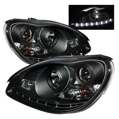 Headlights & Tail Lights - Headlights - Spyder - Mercedes-Benz S Class Spyder Projector Headlights DRL - Black - 444-MBW220-DRL-BK