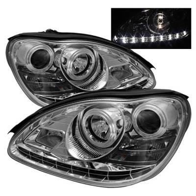 Headlights & Tail Lights - Headlights - Spyder - Mercedes-Benz S Class Spyder Projector Headlights DRL - Chrome - 444-MBW220-DRL-C