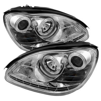 Headlights & Tail Lights - Headlights - Spyder - Mercedes-Benz S Class Spyder Projector Headlights - Xenon HID Model Only - DRL - Chrome - 444-MBW220-HID-DRL-C