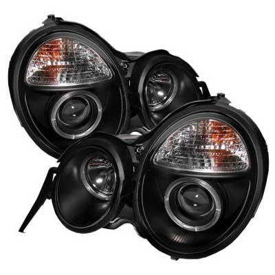 Headlights & Tail Lights - Headlights - Spyder Auto - Mercedes-Benz E Class Spyder Halo Projector Headlights - Black - 444-ME00-CCFL-C