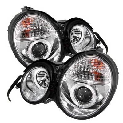 Headlights & Tail Lights - Headlights - Spyder Auto - Mercedes-Benz E Class Spyder Halo Projector Headlights - Chrome - 444-ME00-CCFL-SM