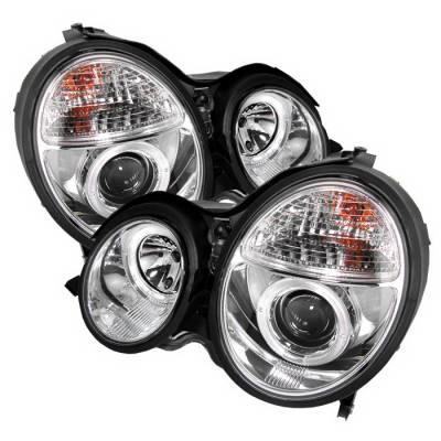 Headlights & Tail Lights - Headlights - Spyder Auto - Mercedes-Benz E Class Spyder Halo Projector Headlights - Chrome - 444-ME00-HL-C