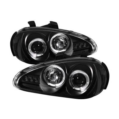 Headlights & Tail Lights - Headlights - Spyder - Mazda MX3 Spyder Projector Headlights - LED Halo - LED - Black - 444-MMX392-HL-BK